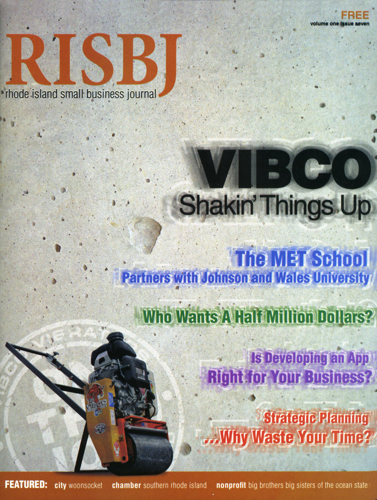 Cover of Rhode Island Small Business Journal - VIBCO Shakin' Things Up