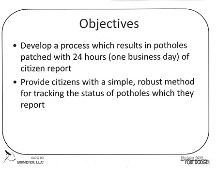objectives fort dodge pothole kaizen process 1
